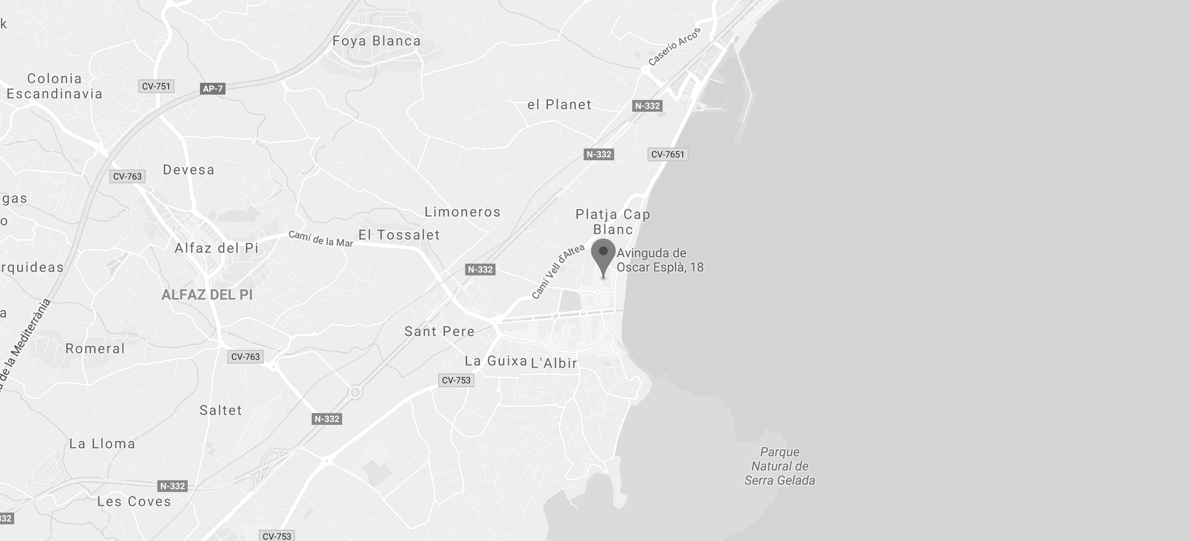 Map to the apartment close to the beach in Albir